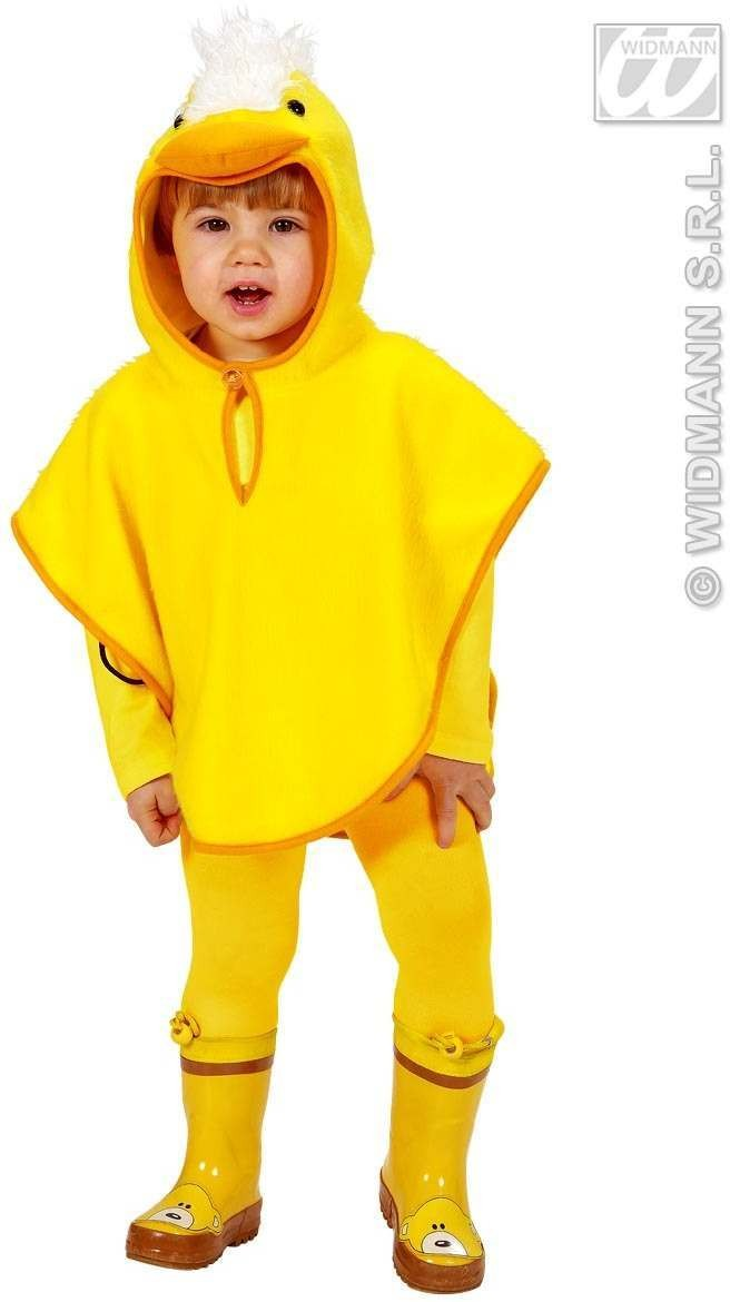 Plush Chick Hooded Poncho 98, 110Cm Fancy Dress Costume (Animals)