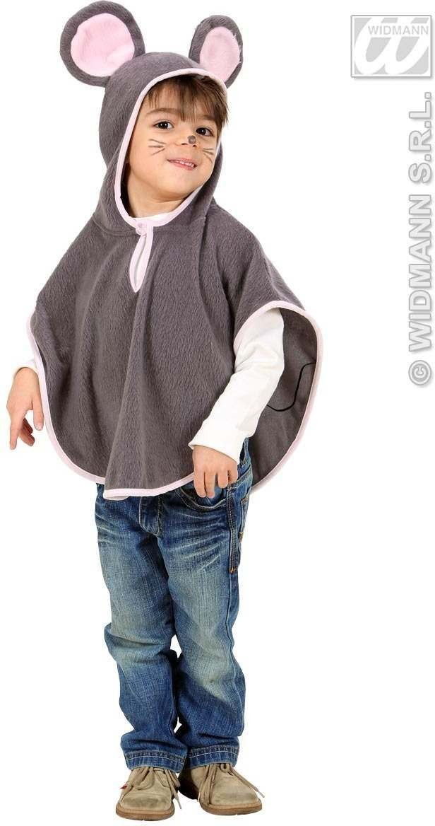 Plush Mouse Hooded Poncho 98, 110Cm Fancy Dress Costume (Animals)