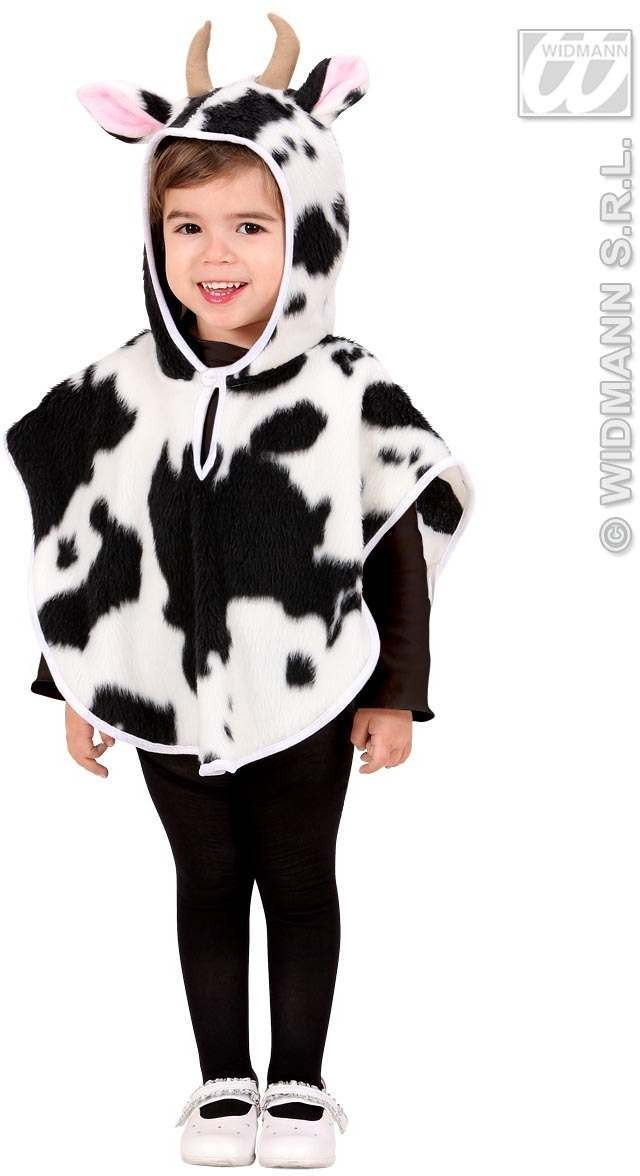 Plush Cow Hooded Poncho 98 - 110Cm Fancy Dress Costume (Animals)