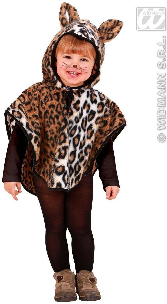 Plush Leopard Hooded Poncho 98, 110Cm Costume (Animals)