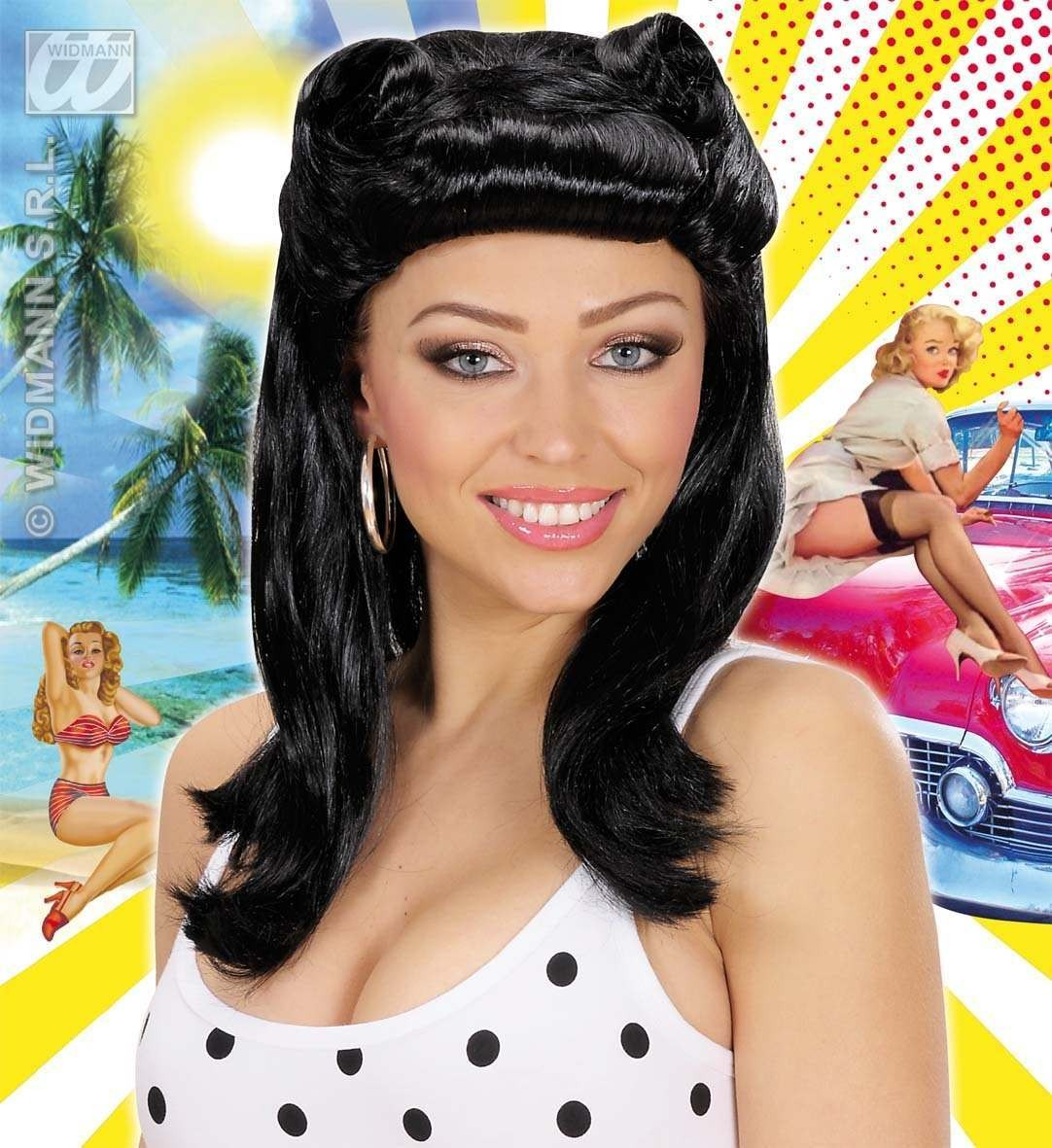 Pin Up Girl Wigs - Black - Fancy Dress