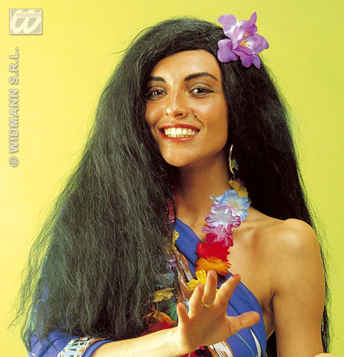 Hawaiian Wig W/Flower In Polybag - Fancy Dress (Hawaiian)