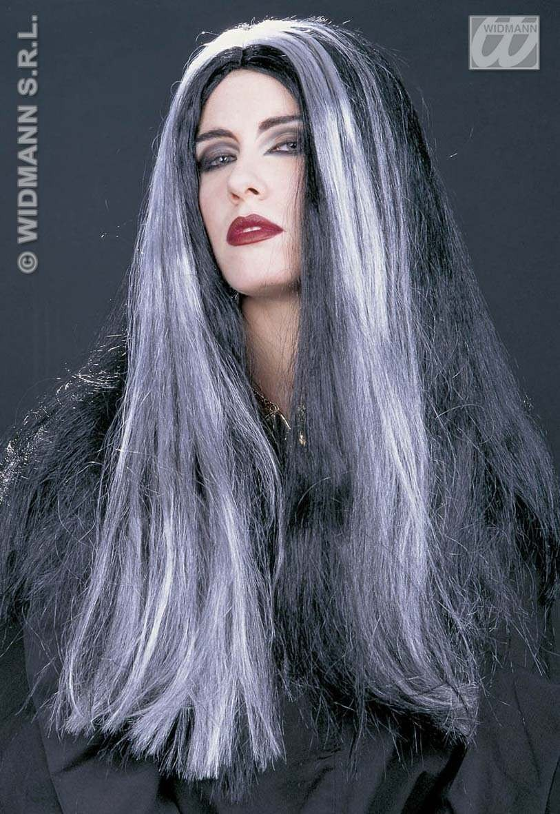 Morticia Wig Blk/White - Fancy Dress