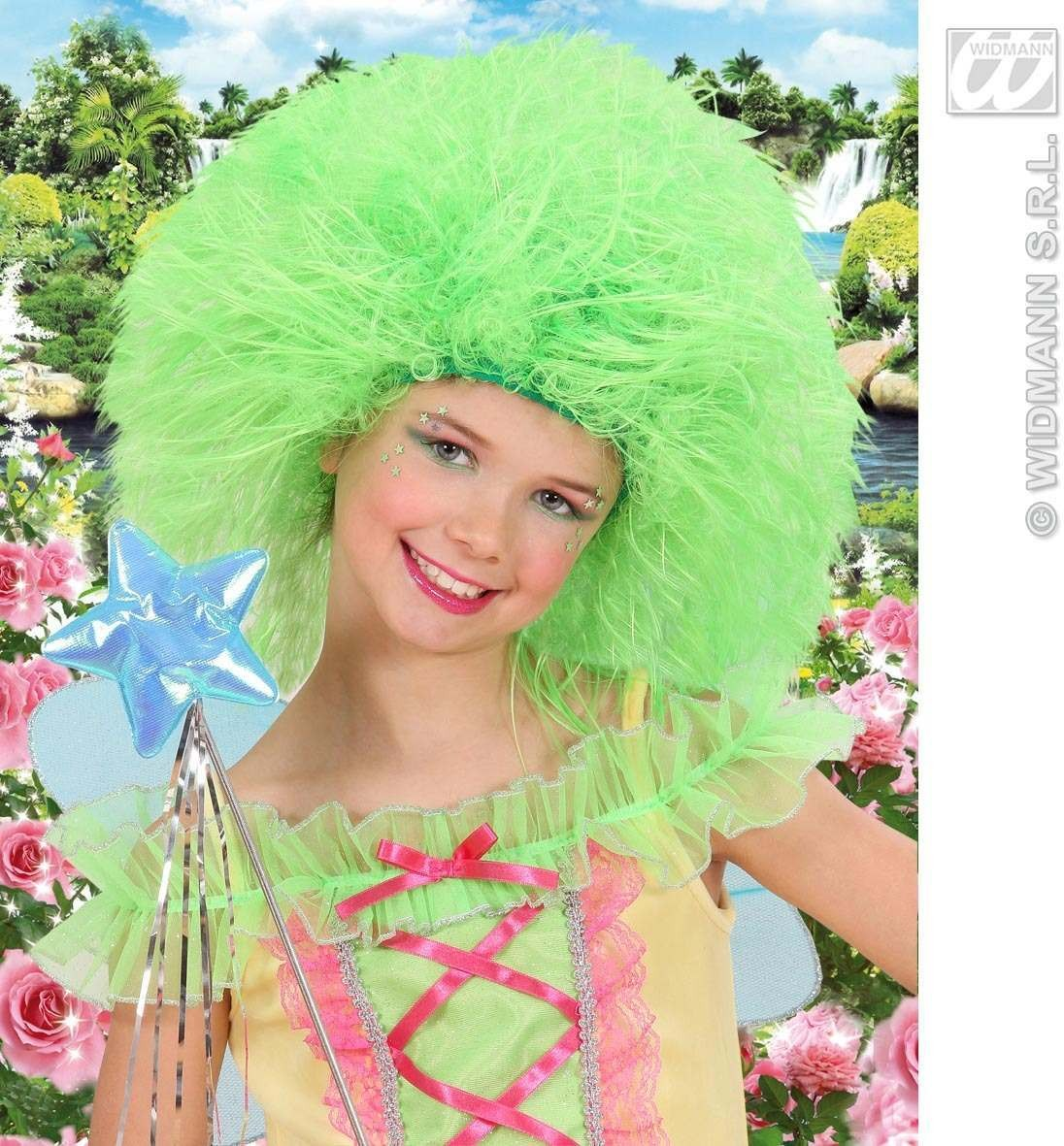 Child Neon Fairy Wig - Green - Fancy Dress (Fairy Tales)