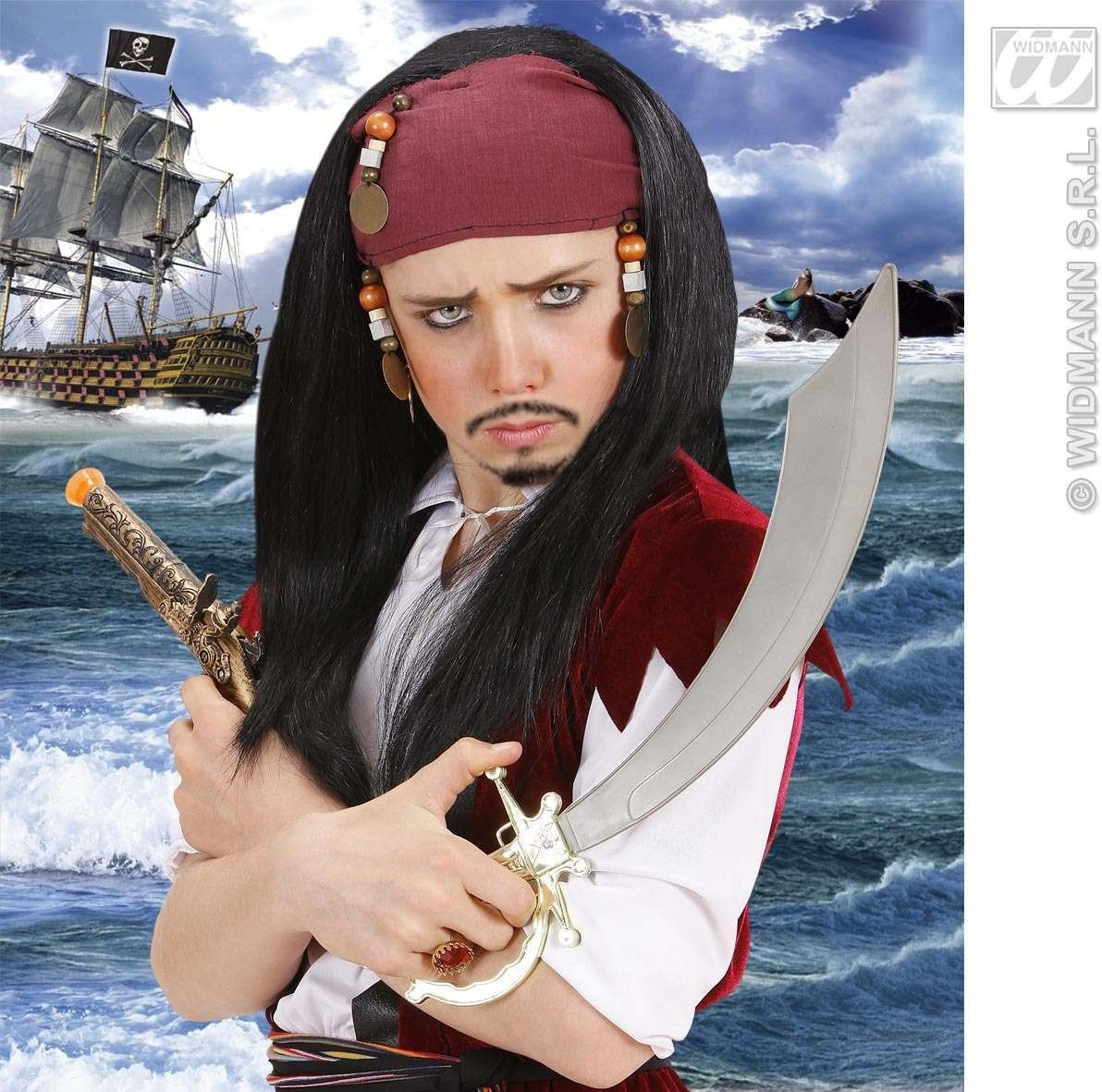 Child Pirate Caribbean Wig+Bandana & Beads, Fancy Dress (Pirates)