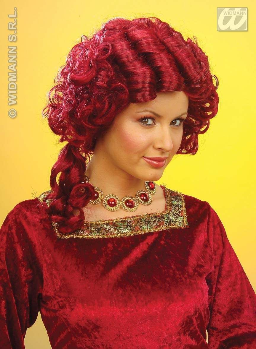 Baroque Queen Wig Red - Fancy Dress (Royalty)