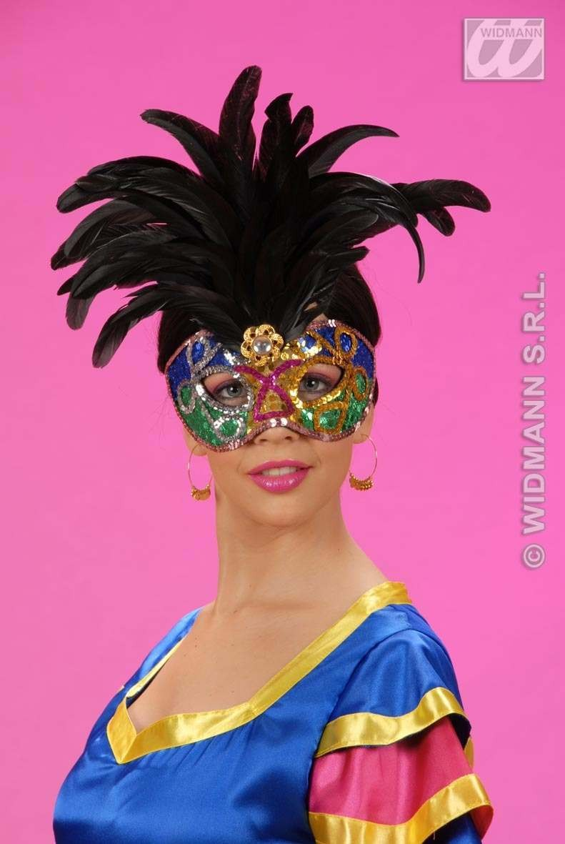 Eyemask Sequin Brazil W/Feathers 2 Col Ass, Fancy Dress