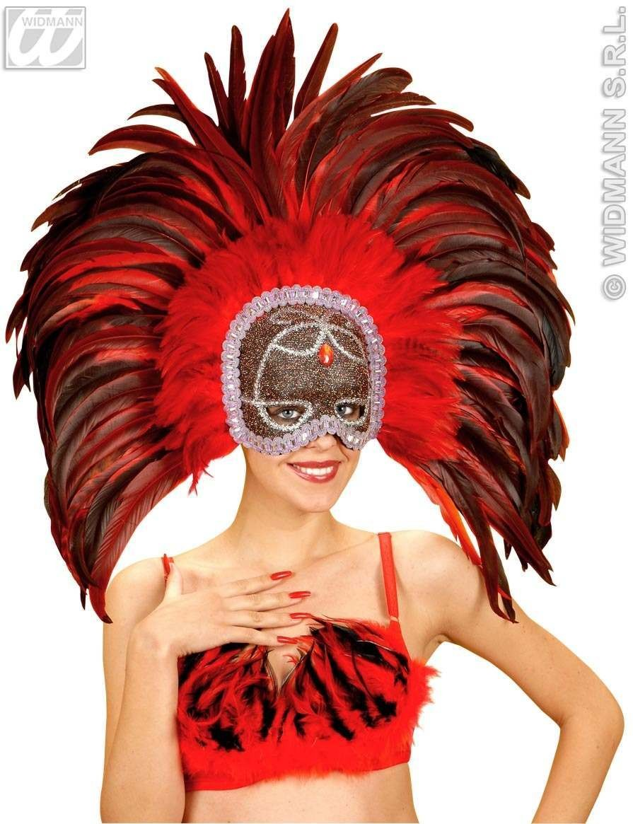 Trocadero Feather Masks 3 Colours Ast - Fancy Dress