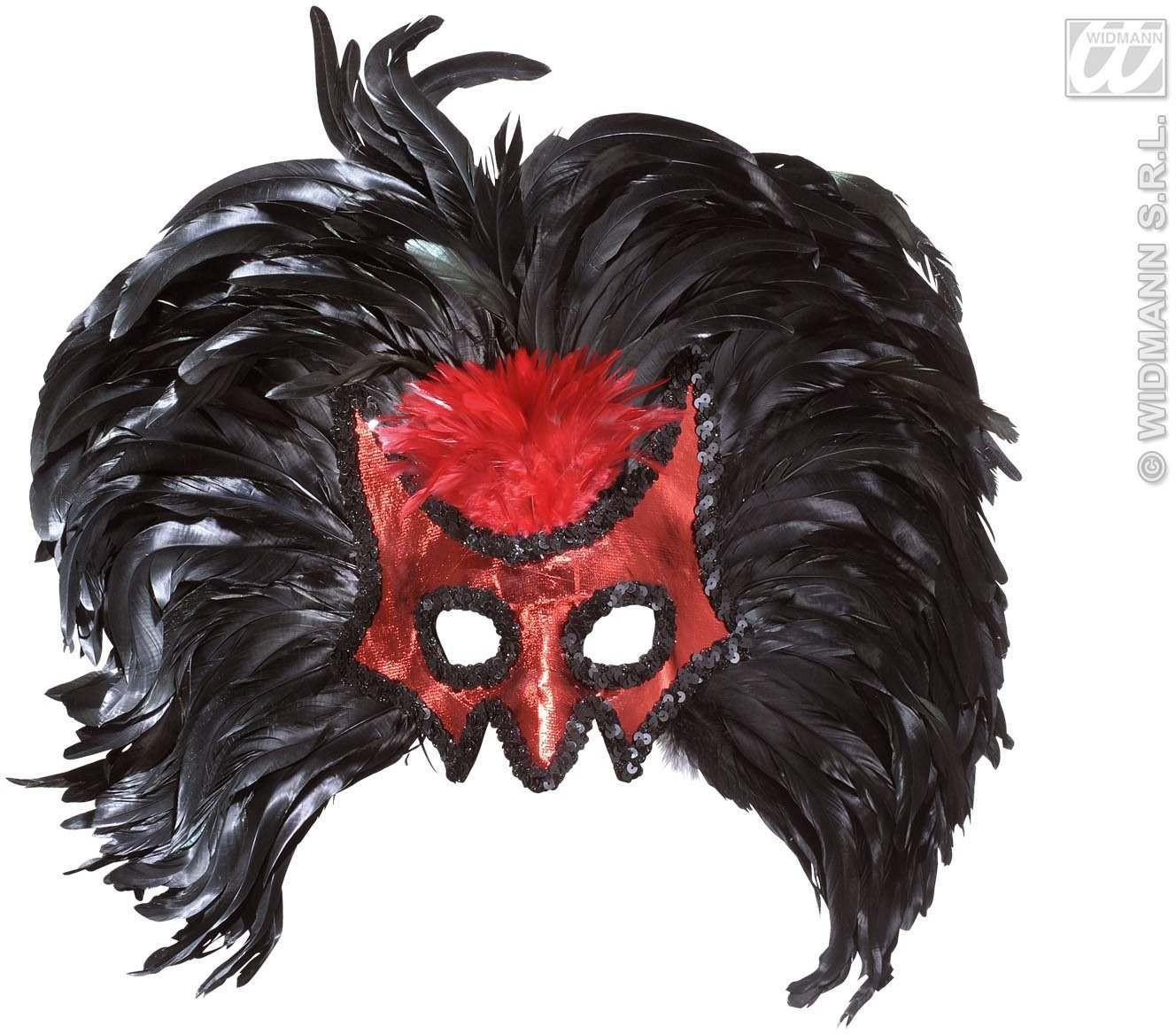 Devil Masks With Maxi Feathers - Fancy Dress (Halloween)