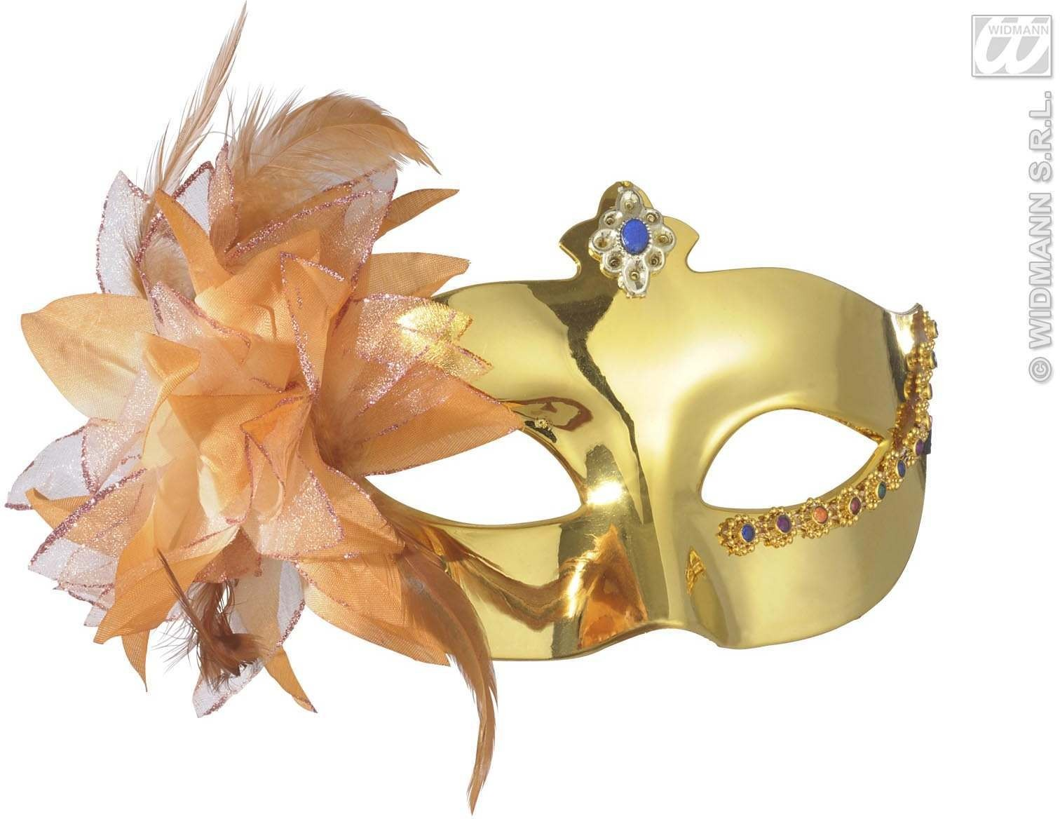 Metallic Gold Eyemask With Flower - Fancy Dress