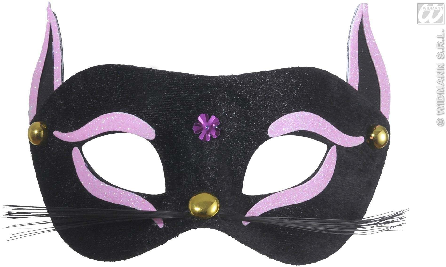 Black Cat Eyemask With Pink Glitter - Fancy Dress