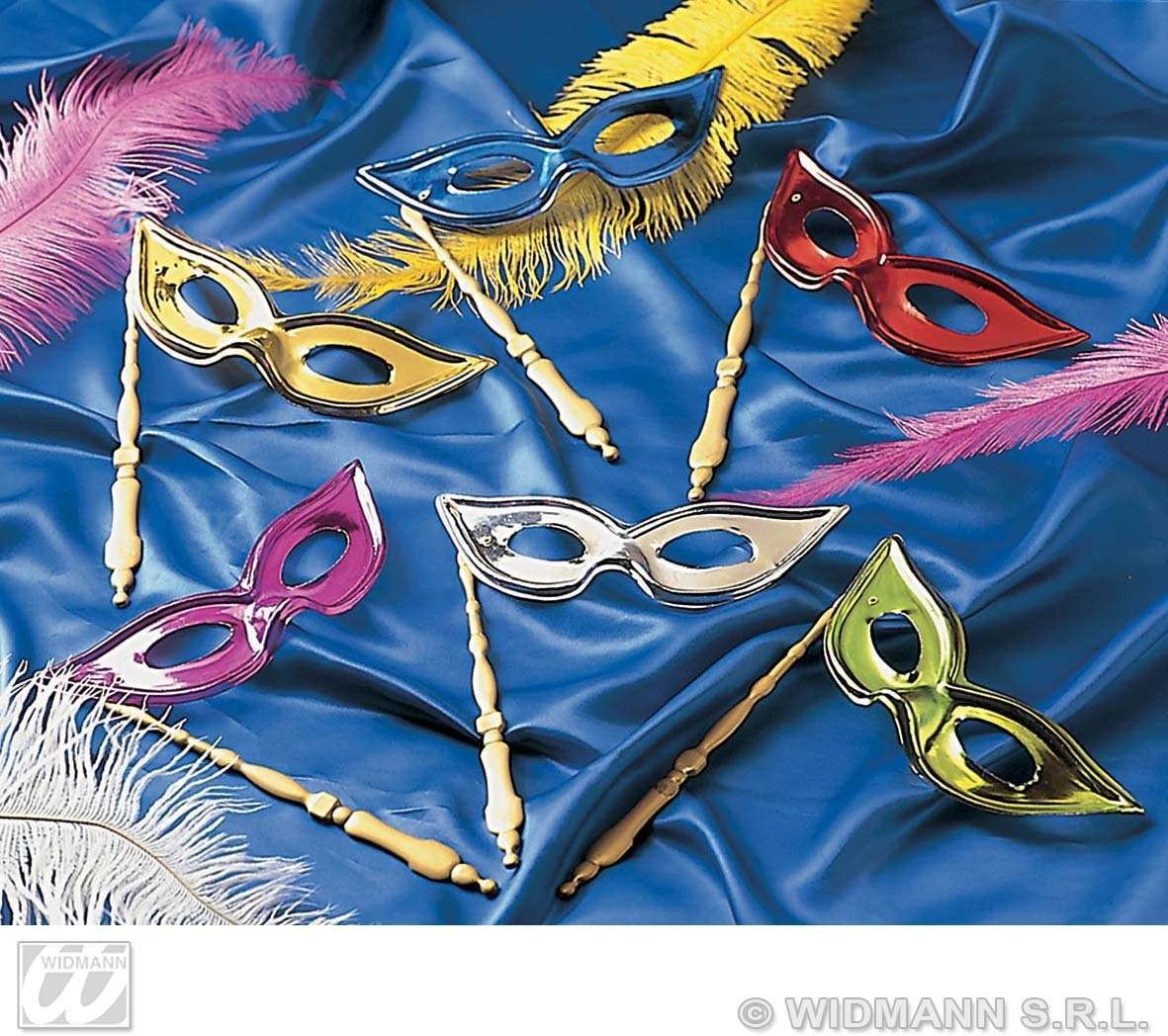 Metallic Eyemask With Stick - Fancy Dress