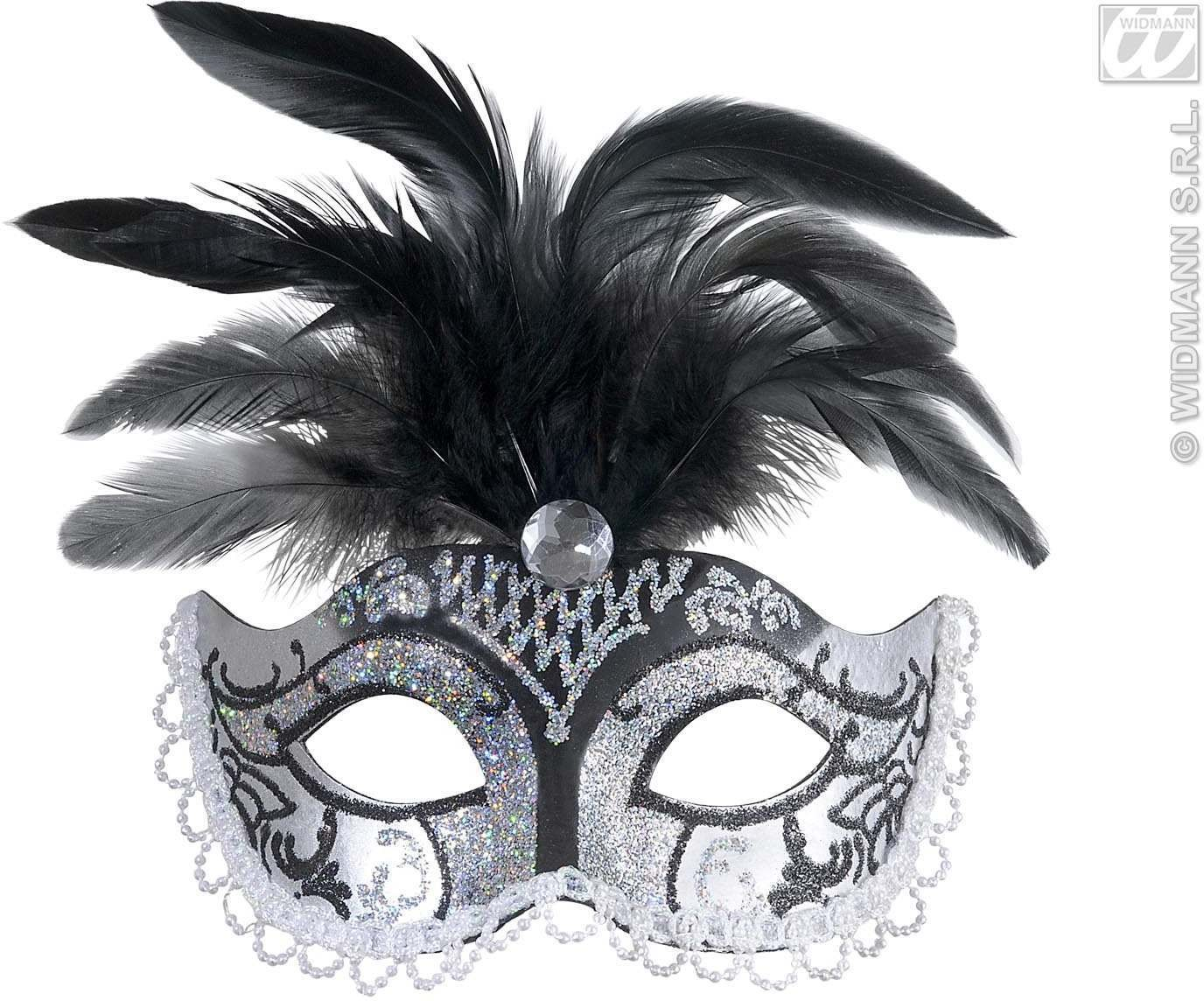 Silver, Black Glitt Eyemask +Gem + Feathers Fancy Dress