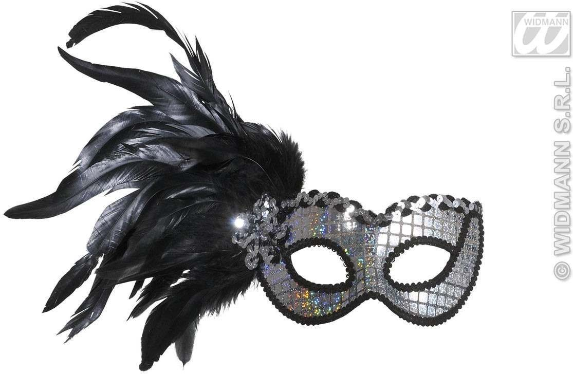 Holographic Eyemask With Feathers - Fancy Dress
