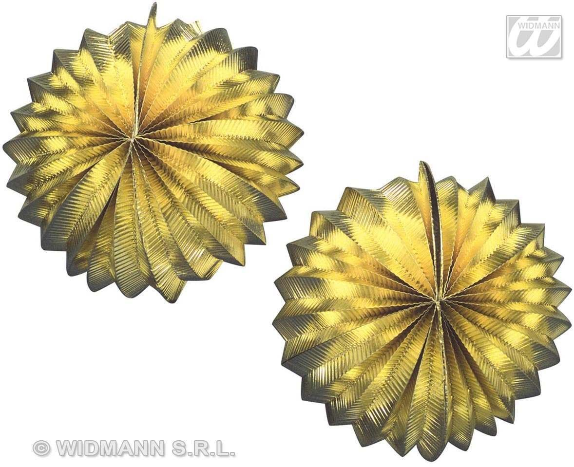 2 Gold Metallic Globes -25Cm Fancy Dress