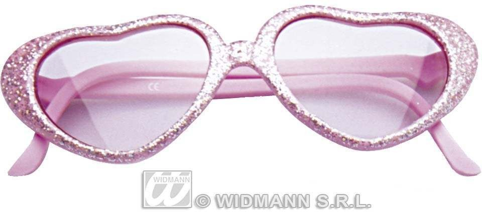 Glamour Girl Glitter Heart Glasses - Fancy Dress