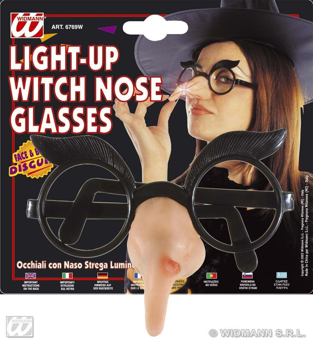 Glasses W/Light Up Witch Nose - Fancy Dress (Halloween)