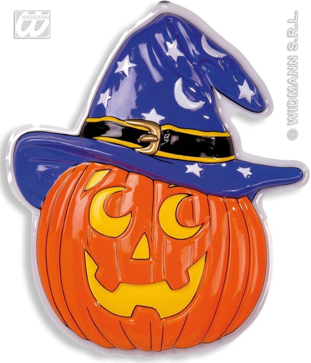 3D Neon Pumpkin W/Witch Hat 45X52Cm - Fancy Dress (Halloween)
