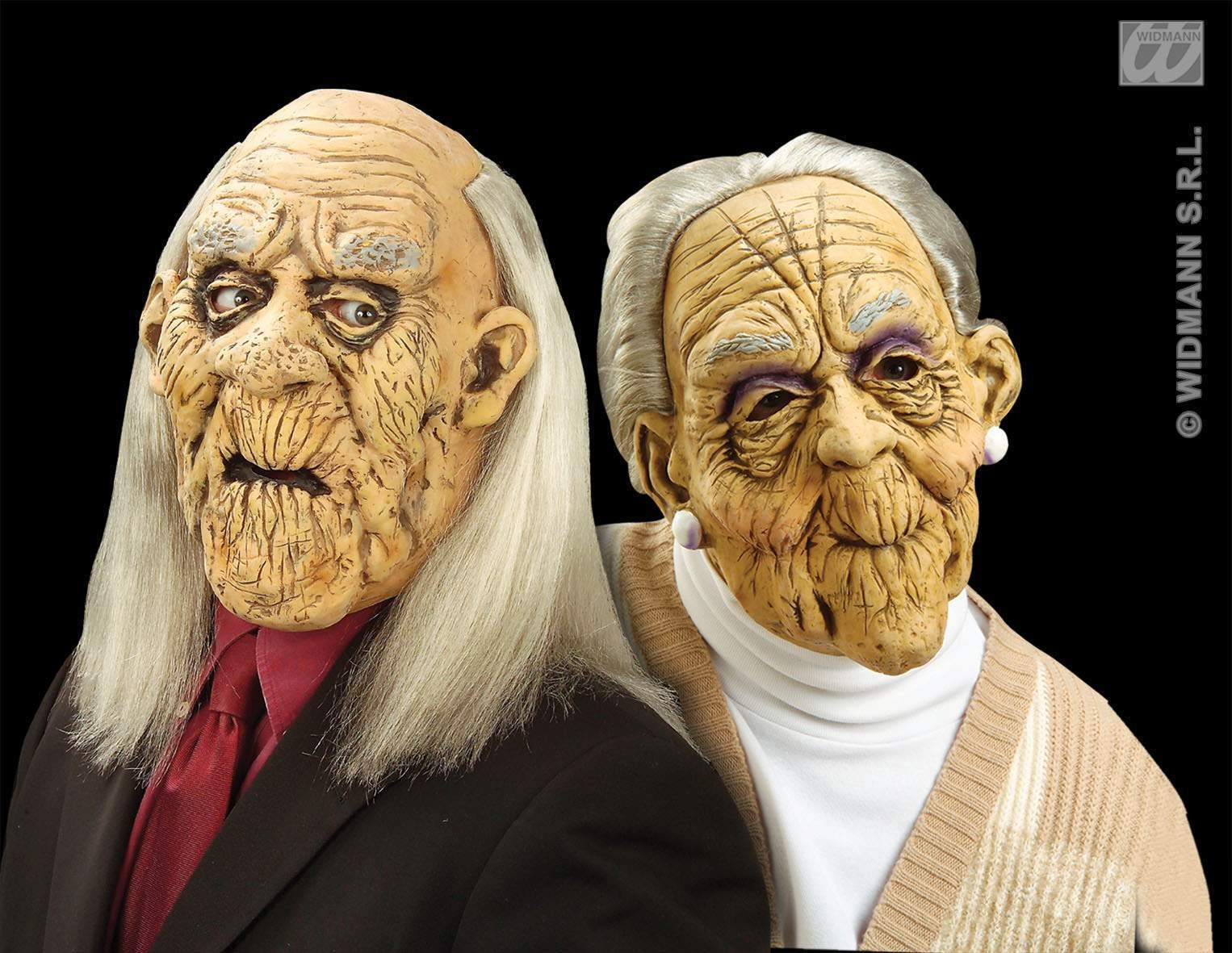 Old Man/Woman Mask W/ Wig - Fancy Dress Ladies