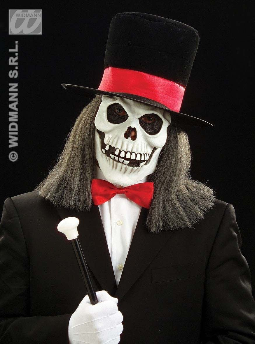 Skull Mask W/Velvet Top Hat/Hair - Fancy Dress