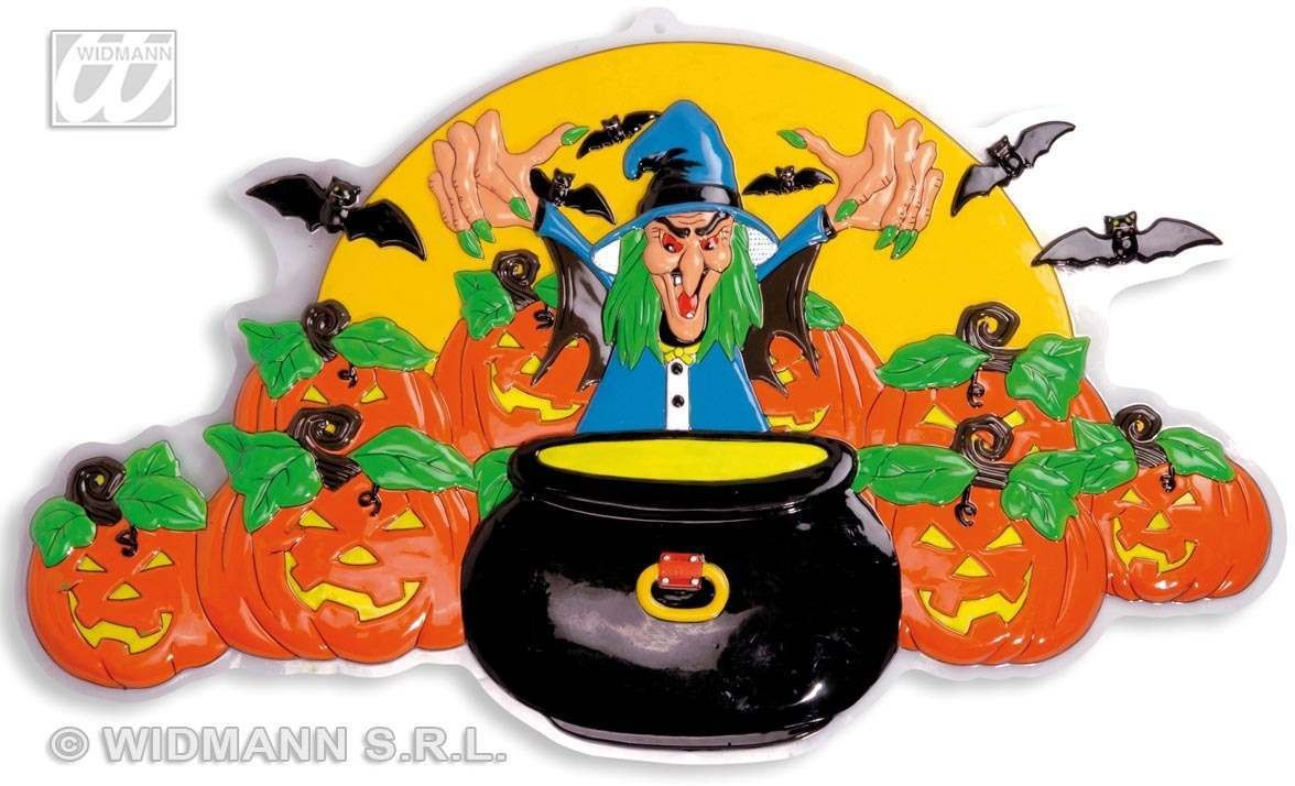 3D Witches W/ Cauldron & Pumpkins 91X51Cm Fancy Dress (Halloween)
