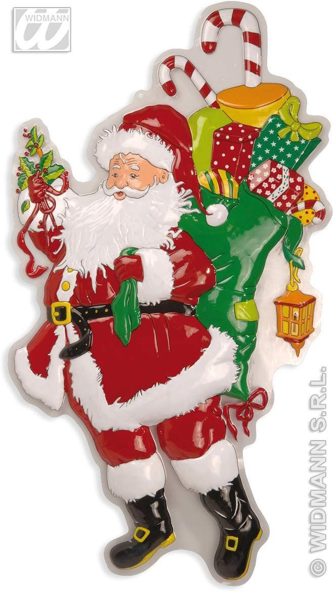 3D Santa Claus W/Sack & Laurel 100Cm - Fancy Dress (Christmas)