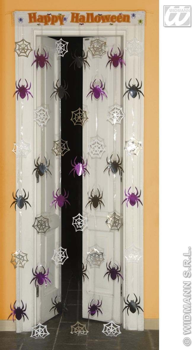 Door Curtain Spiderweb/Spiders 90X200Cm - Fancy Dress (Halloween)