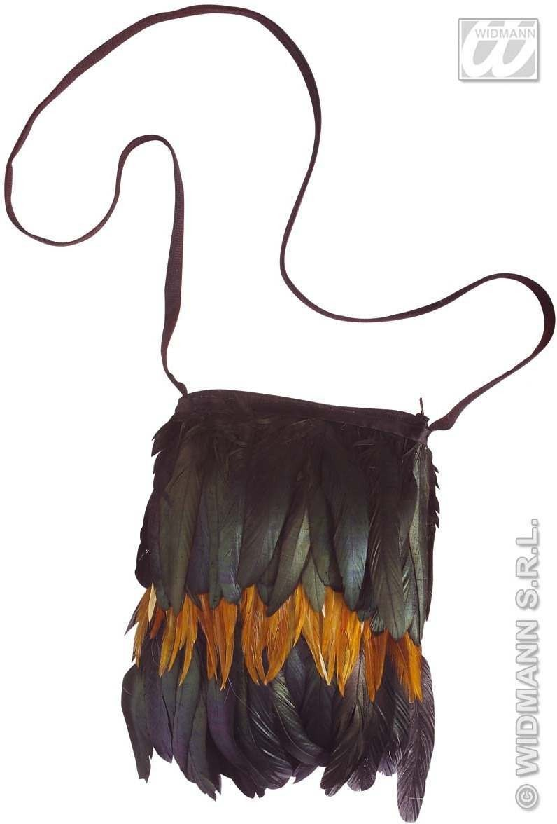 Feathered Native American Handbag - Fancy Dress (Cowboys/Native Americans)