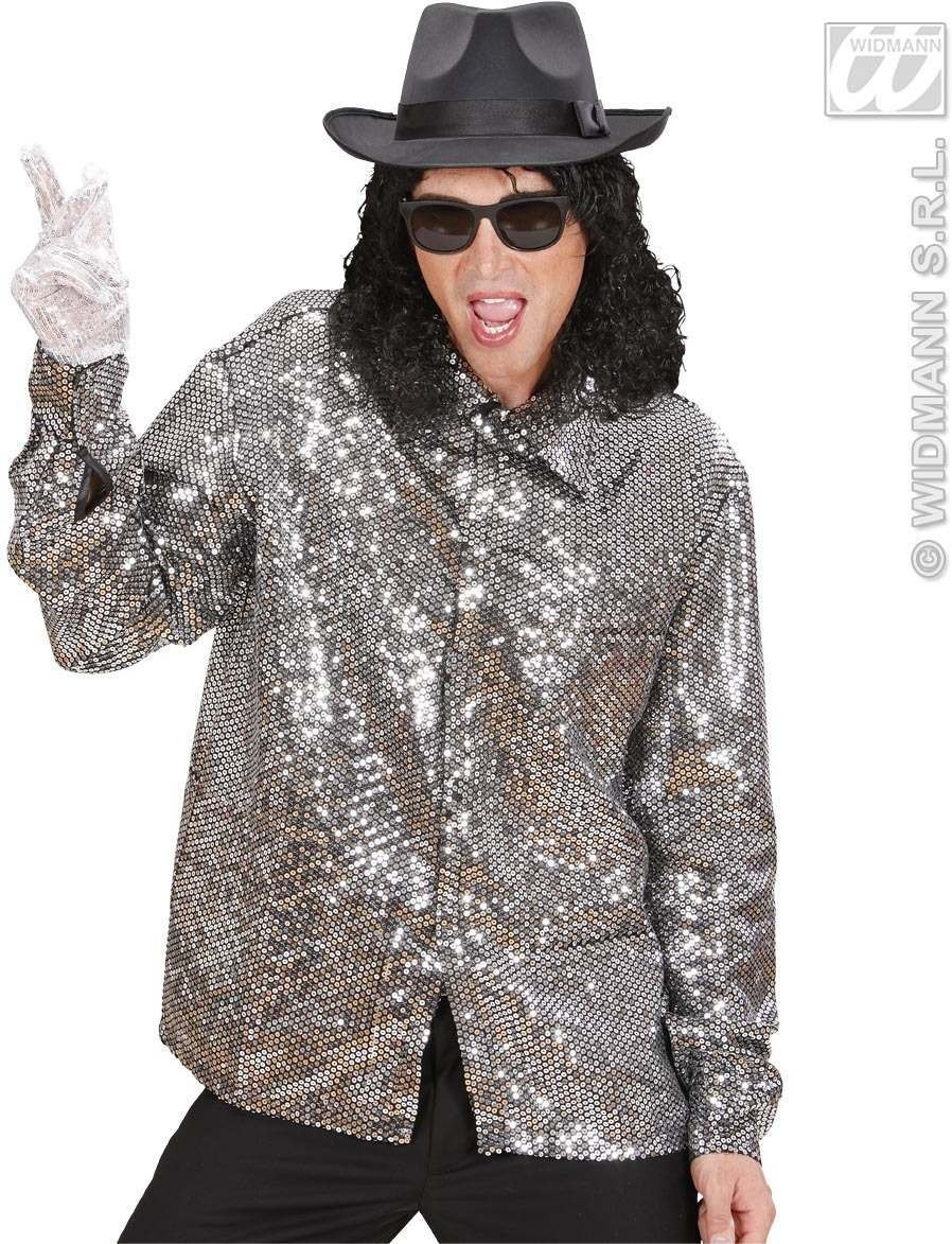 Silver Sequin Shirt Fancy Dress Costume Mens (Music)