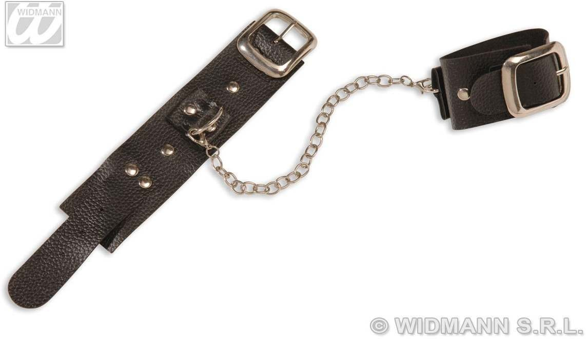 Leather & Chain Studded Wirst & Ankle Cuffs Fancy Dress (Halloween)