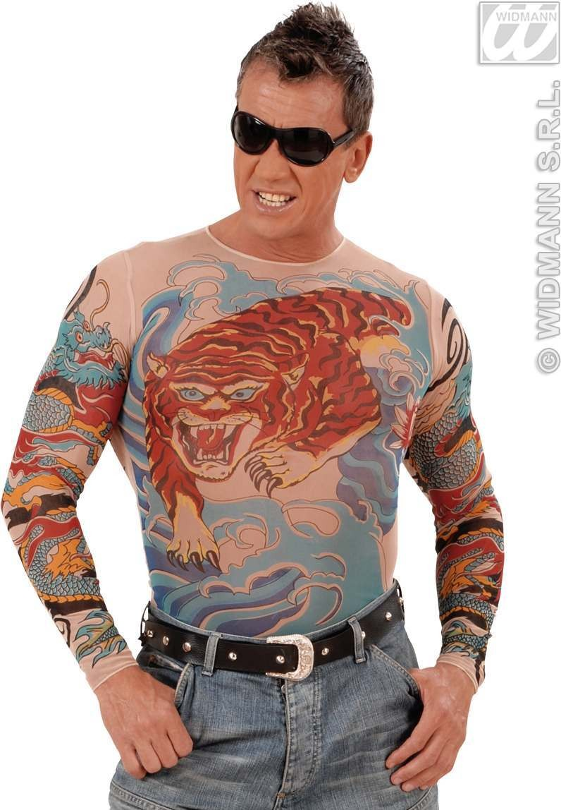 Tattoo Shirt Tiger/Dragon Mens Fancy Dress Costume (Animals)