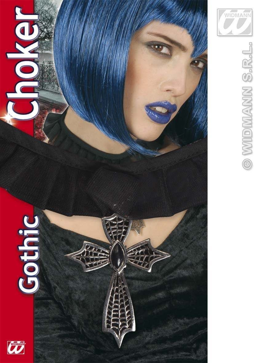 Gothic Cross Choker W/Black Gem - Fancy Dress (Halloween)