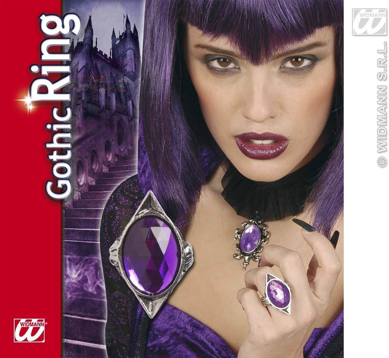 Gothic Rectangular Ring W/Purple Gem - Fancy Dress (Halloween)