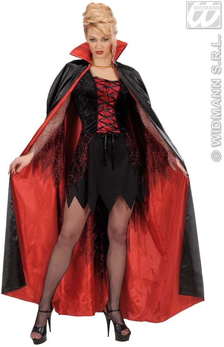Black - Red Lined Satin Capes 158Cm - Fancy Dress (Halloween)