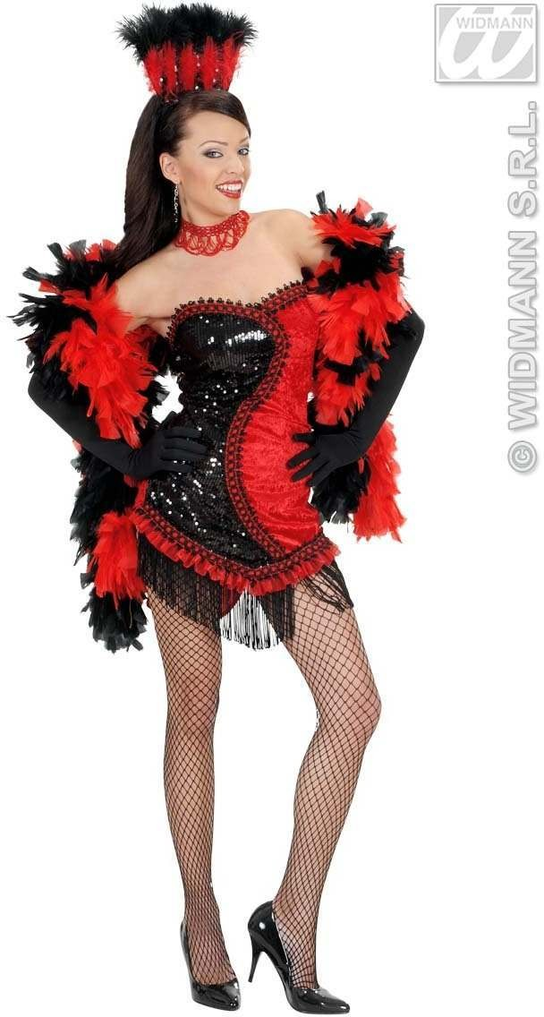 Black/Red Vegas Showgirl Fancy Dress Costume Ladies (Cultures)