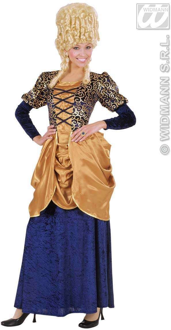 Blue Marquise Dress Fancy Dress Costume Ladies (Renaissance)