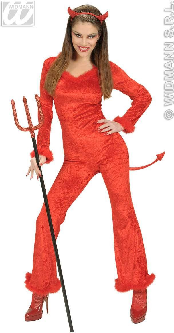 Velvet Devilin With Jumpsuit, Horns Fancy Dress Costume (Halloween)