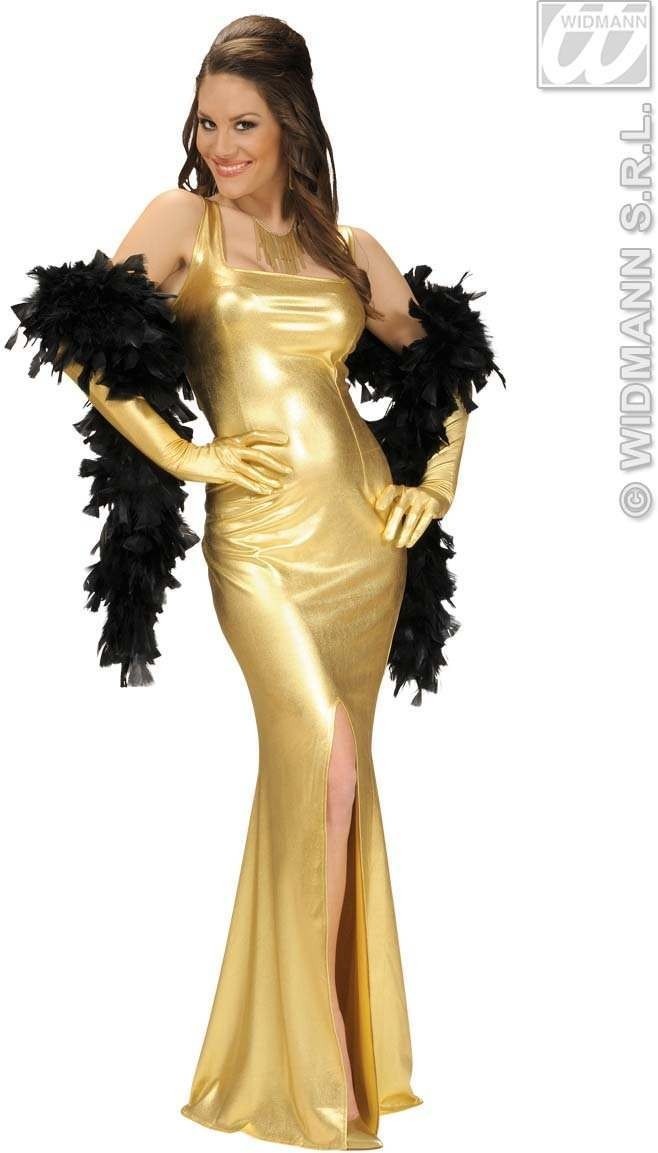 Stretch Fabr.Gold Cocktail Dress/Gloves Costume Ladies