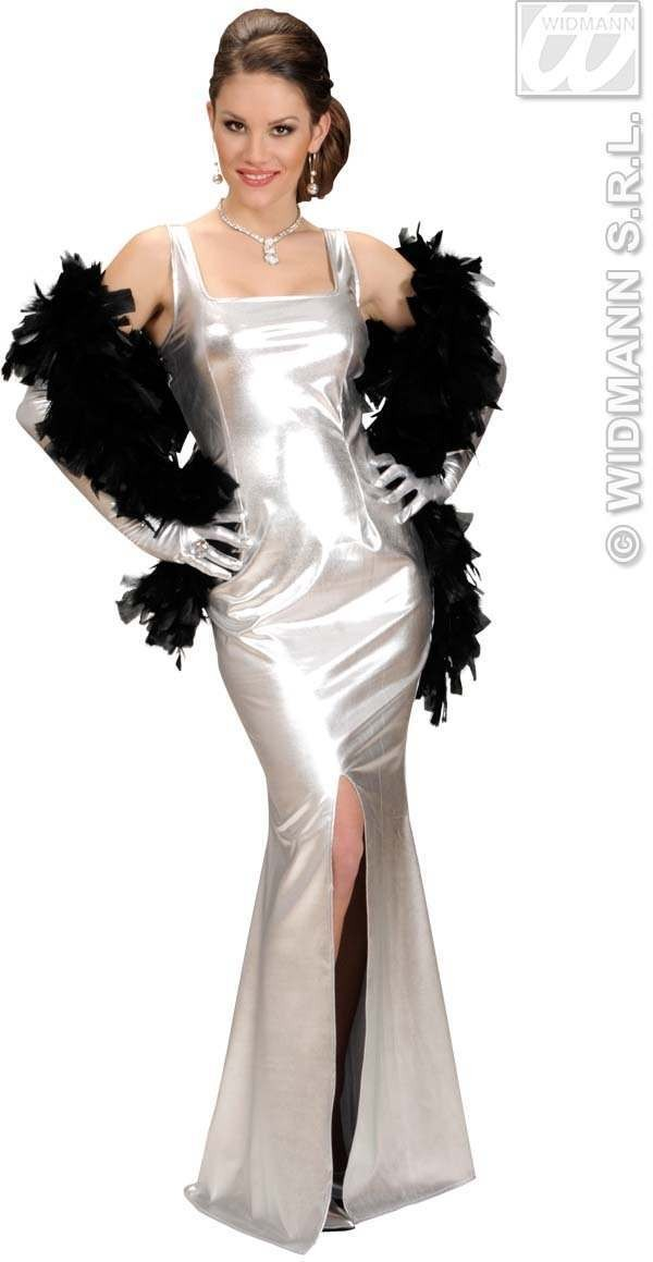 Stretch Fab.Silver Cocktail Dress Dress-Gloves Costume