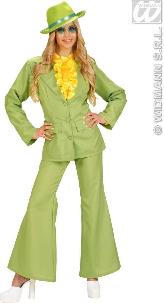 Womans Size Neon Party Suit, Green Fancy Dress Costume
