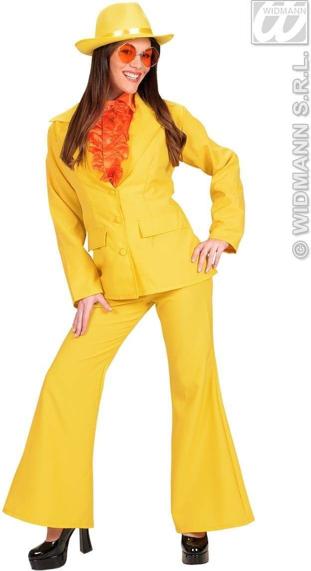 Womans Size Neon Party Suit, Yellow Fancy Dress Costume