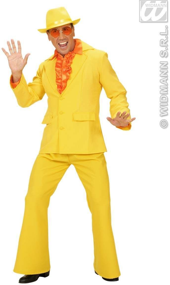 Man Size Yellow Neon Party Suits Fancy Dress Costume