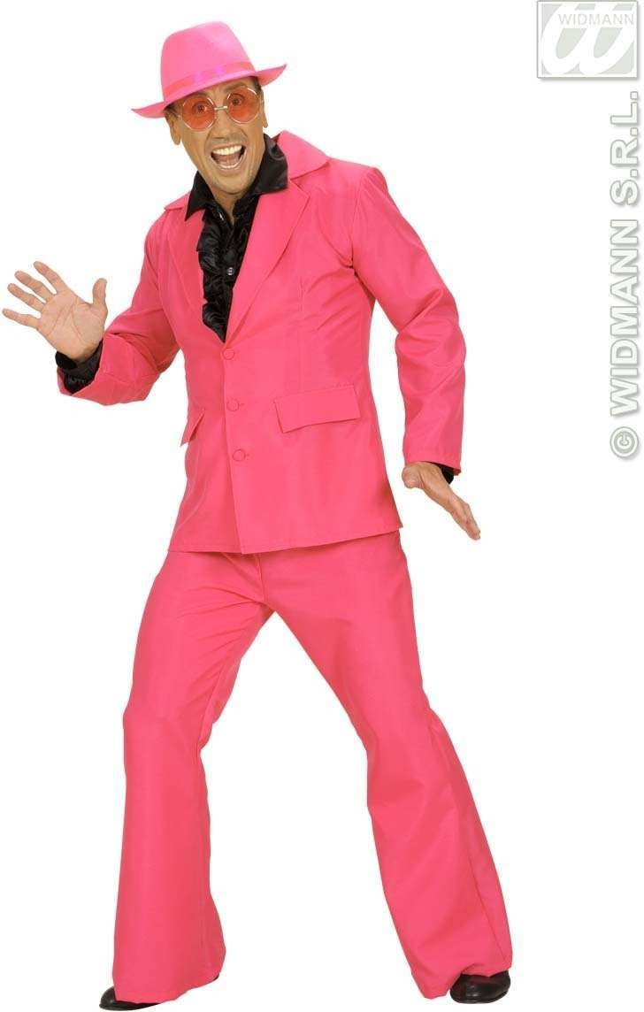 Man Size Pink Neon Party Suits Fancy Dress Costume Mens