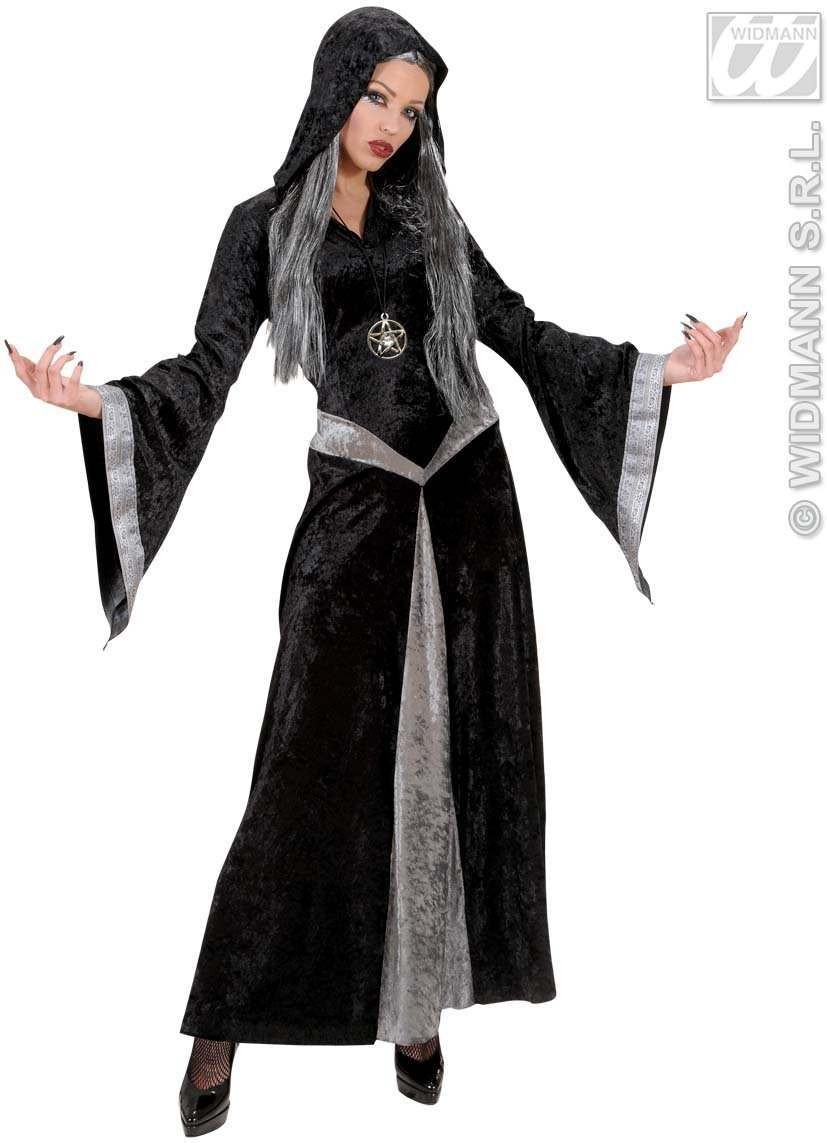 Black Velvet Sorceress/Witch Fancy Dress Costume Ladies (Halloween)