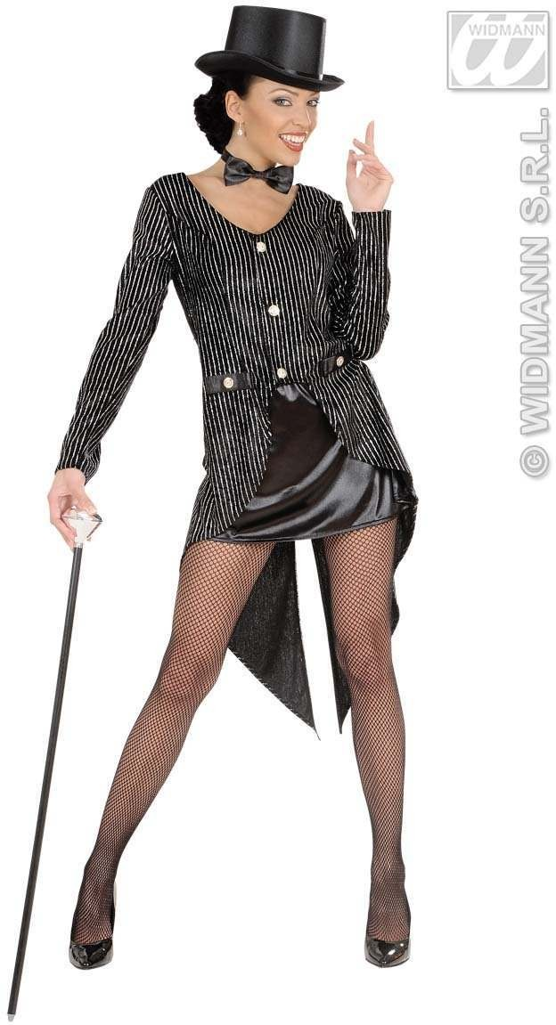 Glitter Tailcoat Womens Fancy Dress Costume Ladies
