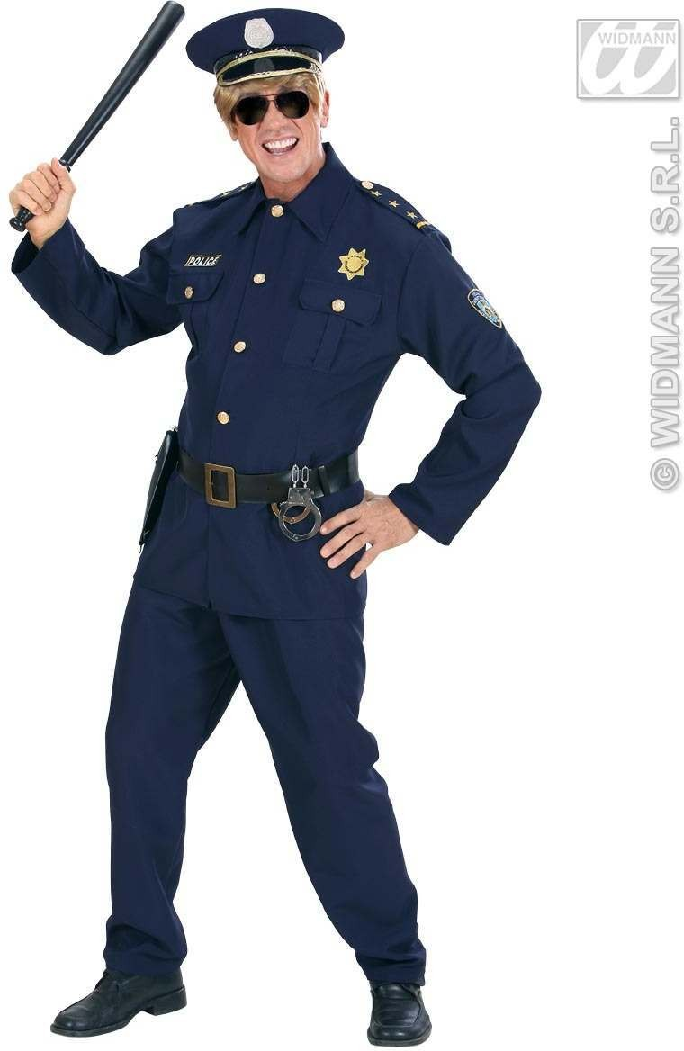 Heavy Fabric Policeman Fancy Dress Costume Mens (Cops/Robbers)