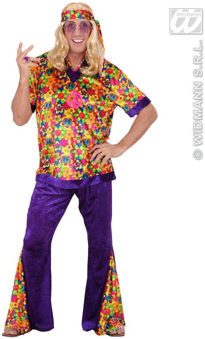 Velvet Hippie Dude Fancy Dress Costume Mens (1960S)