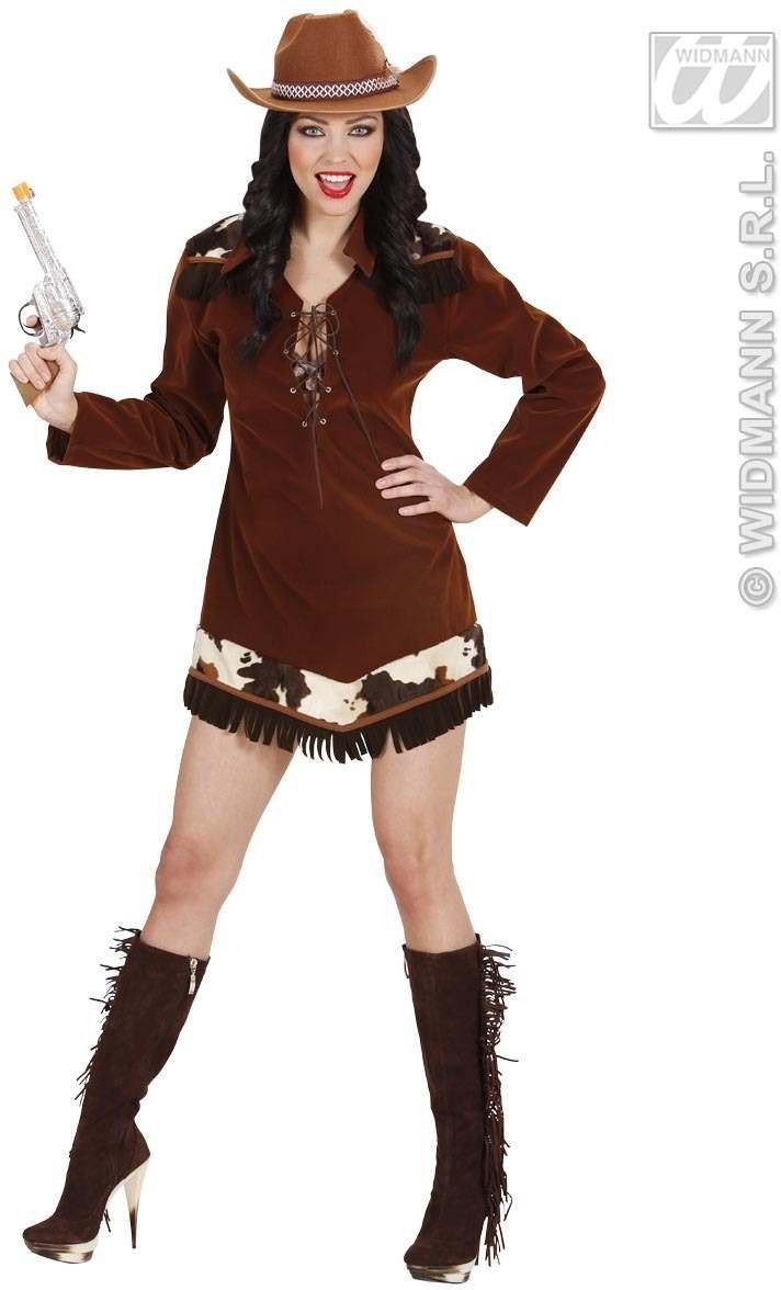 Suedelook Western Cowgirl Fancy Dress Costume Ladies (Cowboys/Native Americans)
