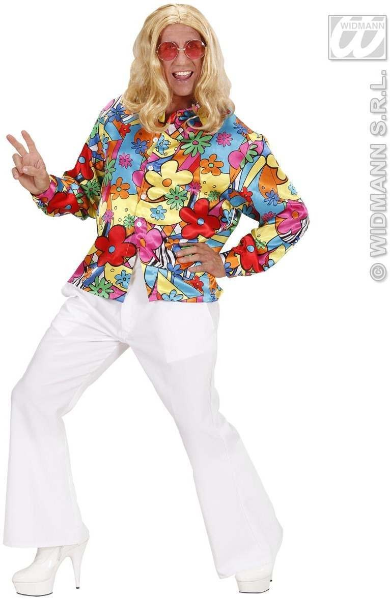 Flower Power Shirt Fancy Dress Costume Mens (1960S)