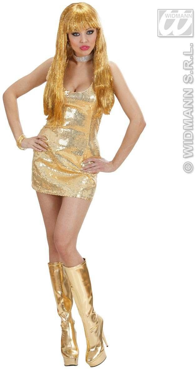 Gold Sequin Dress Fancy Dress Costume Ladies
